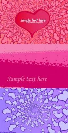 3 valentine day heartshaped card background vector