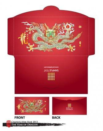 Long red envelope template 07 vector