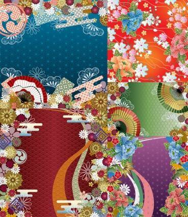 free vector Japanese wind pattern background vector