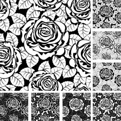 Rose pattern background 02 vector