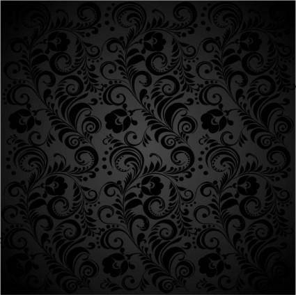 Black background floral 02 vector