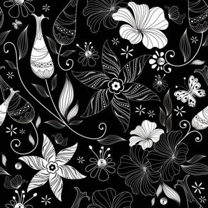 Black background floral 03 vector