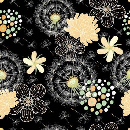 Black background floral 04 vector