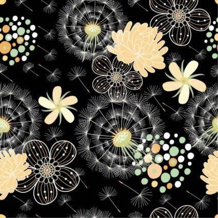 free vector Black background floral 04 vector