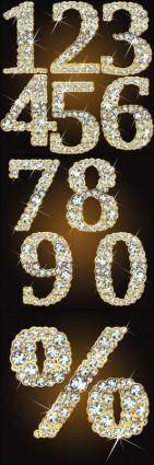 free vector Starstudded diamond number vector