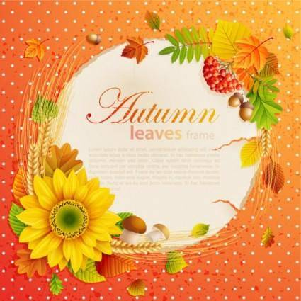 free vector Beautiful autumn leaves frame background 05 vector