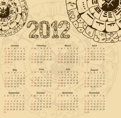 Calendar 2012 illustrator 01 vector