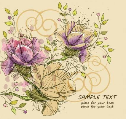 free vector Classic handpainted pattern background 03 vector