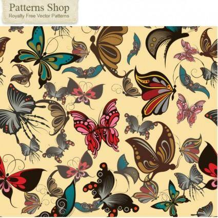 free vector Butterfly pattern background vector
