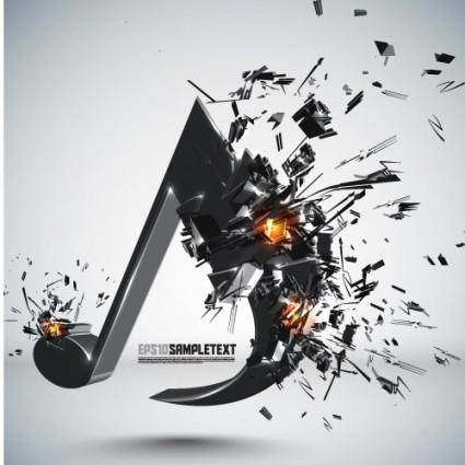 free vector Explosive threedimensional graphics 05 vector