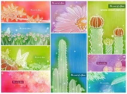 Color soft floral background vector 2 9p