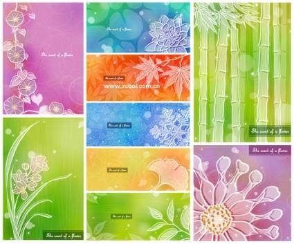 Color soft floral background vector 3 9p