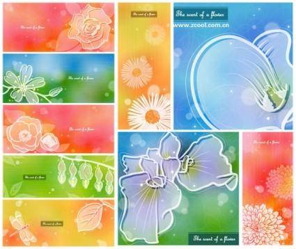 Color soft floral background vector 4 9p