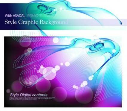 free vector Colorful vector background flow line phantom 1