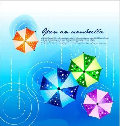 free vector Fashion design background vector printed umbrellas 2
