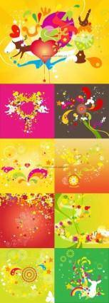 Fun fashion pattern vector background under 9