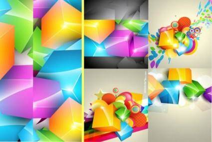 free vector Gorgeous color cube background vector