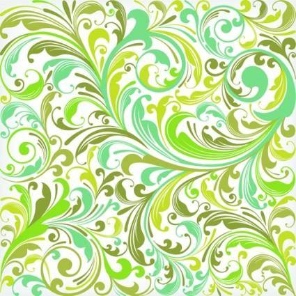 European plant pattern background vector 5