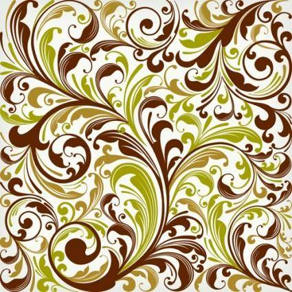 European plant pattern background vector 2