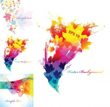 Colorful leaves background vector elements