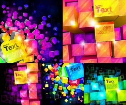 free vector Colorful vector background cube