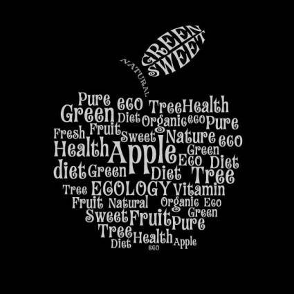 Text composed of vector apple