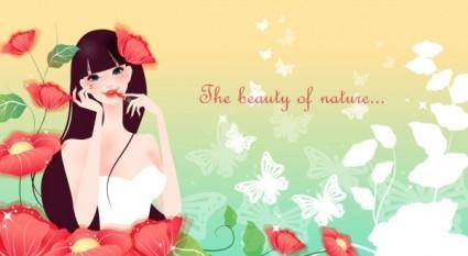 free vector Cartoon beauty vector background 03