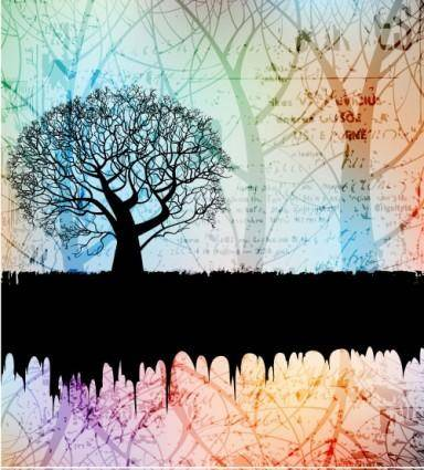 free vector Tree silhouette background 01 vector