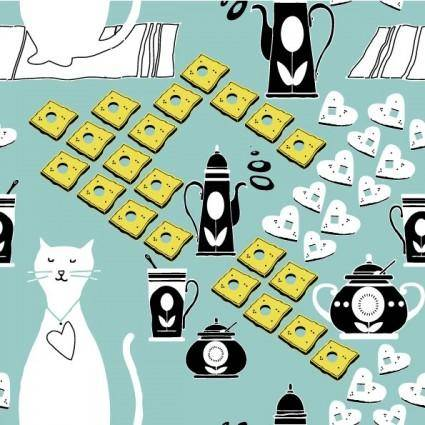 Cat cartoon background 01 vector