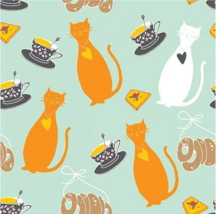free vector Cartoon cat background 04 vector