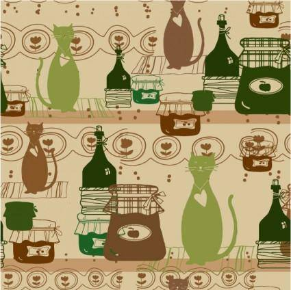 free vector Cartoon cat background 05 vector
