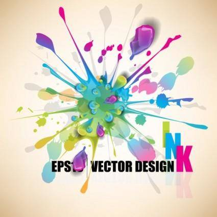 free vector Color paint splashes background 04 vector