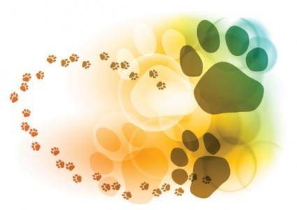 free vector Colorful bubbles footprints background vector