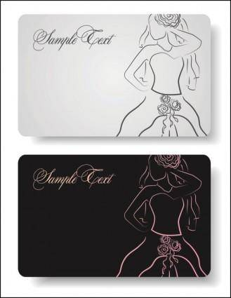 free vector Lines of the bride business cards vector