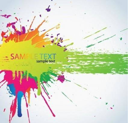 free vector Colorful Bright Ink Splashes Vector Background