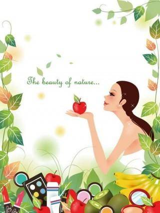 free vector Beautiful Girl with Nature Background Vector Illustration