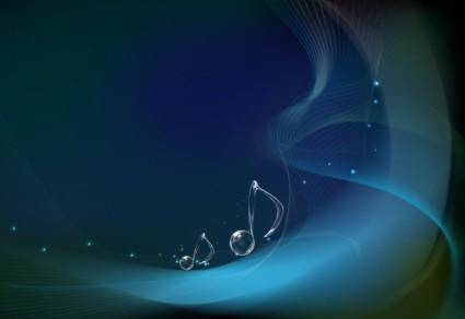 free vector Vector Musical Notes on Wave Background