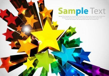 free vector Colorful 3D Stars Vector Background