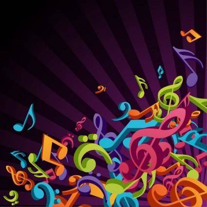 free vector 3D Colorful Music Vector Background