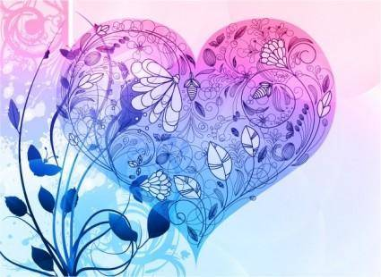 free vector Vector Heart Valentine's Day Background