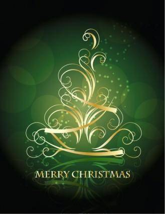 free vector Golden Swirling Christmas Tree with Blackish Green Background