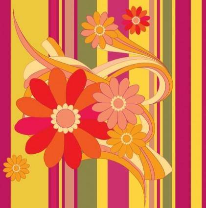 Vector Flower with Color Background