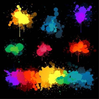 Vector Set Of Colored Blots On The Black Background