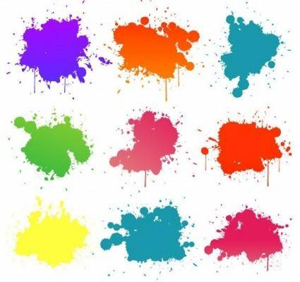 free vector Vector Set Of Colored Blots On The White Background