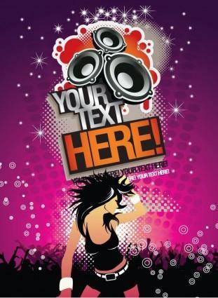 Free Music Background Party Time Poster Vector