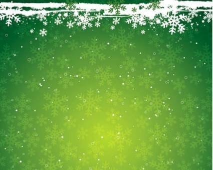 free vector Green Snowflake the Christmas Theme Vector Background Material