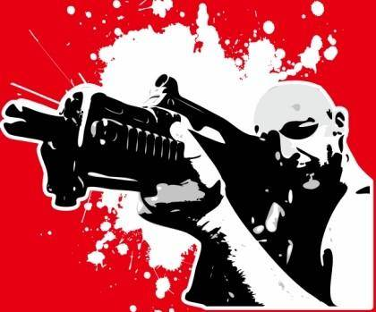 free vector Soldiers firing a red background vector characters