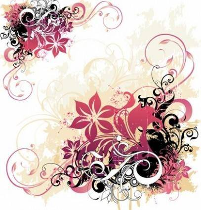 free vector Swirl and Flower Background Free Vector Graphic