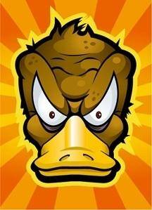 Cartoon Duck with Radiant Background Vector