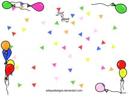 free vector Confetti Background with Balloon Frame